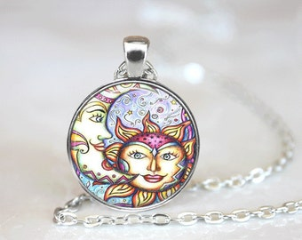 GlassTile Necklace Sun and Moon Necklace Glass Tile Jewelry Celestial Jewelry Sun Jewelry Moon Jewelry Celestial Necklace