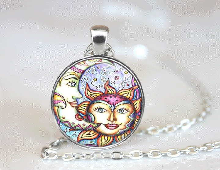 Glasstile necklace sun and moon necklace glass tile jewelry zoom mozeypictures Gallery