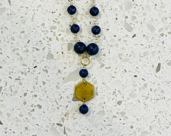 Lapis Lazuli and Brass Beaded Necklace