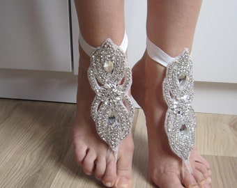 Rhinestones Barefoot sandals/ Wedding shoes, foot jewelry, bridal rhinestones anklet, beach scandals,New style