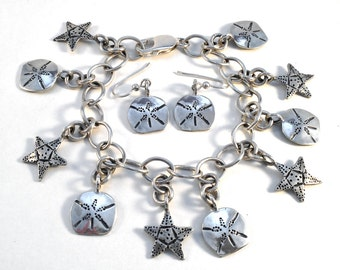 Starfish Sand Dollar Loaded Charm Bracelet or Earrings Made from Silver Vintage American Dime Coins
