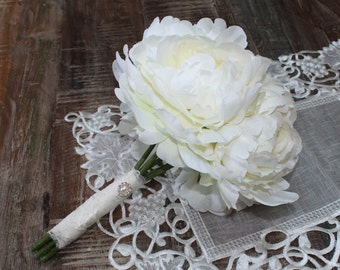 SALE Simple Elegance Ivory Peony Bridal Bouquet