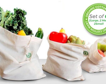 Reusable Produce Bags Made From Cotton - Washable - Organic Cotton Vegetable Bags - Cloth Bag with Drawstring - Muslin Cotton Produce Bags