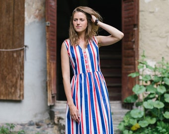 Striped dress, Midi dress, Cotton dress, Women dress, Summer dress, Beach dress, Party dress, City dress, Vacation dress, Casual dress