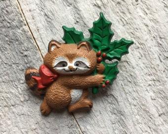 Vintage Christmas hallmark pin, raccoon with holly Christmas hallmark pin, vintage Christmas pin, vintage hallmark pin,