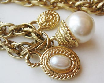 Vintage 60s Florenza Style Chunky Baroque Pearl Gold Chain Link Long Charm Necklace