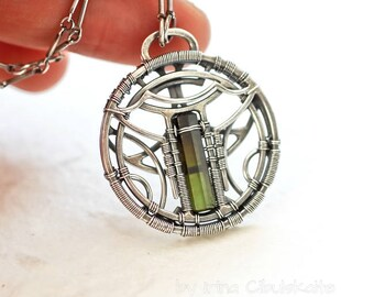 Pagoda - Sterling silver pendant with Green Tourmaline