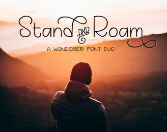 Font duo - Stand and Roam - Sans serif hand lettered fonts - Digital font - Sleek font