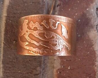 LSU Tiger Eye etched on copper bracelet or cuff