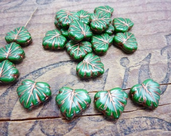 Czech Glass Maple Leaf Beads Green and Copper (8)