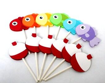 Fish Cupcake Toppers / Gone Fishing cupcake toppers / Fishing Cupcake toppers