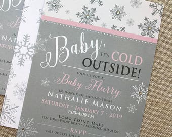 Baby Its Cold Outside Invitation, Winter Wonderland Baby Shower, Snowflake Baby Shower invitation, Winter Wedding Shower Invitation, Oh Baby