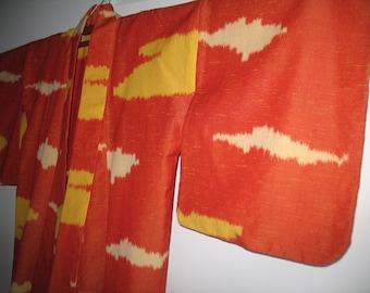 Vintage Reddish Orange Wool Kimono