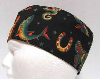 Mens Scrub Hat, Surgical Cap or Chemo Hat Featuring Tattoos