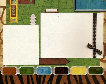 12x12 Premade Scrapbook Page - At the Zoo