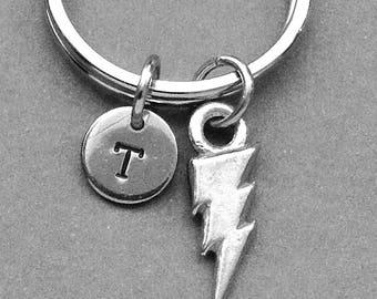 Lightning Bolt Keychain, Lightning Keychain, Lightning bolt keyring, bolt, customized keychain, personalized keychain, initial keychain