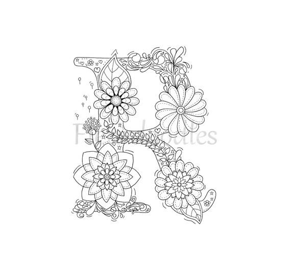 Malseite zum Ausdrucken Buchstabe R floral