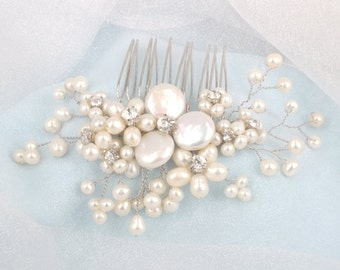 Pearl Dream-Vintage Style Freshwater Pearl and Rhinestone Bridal Comb