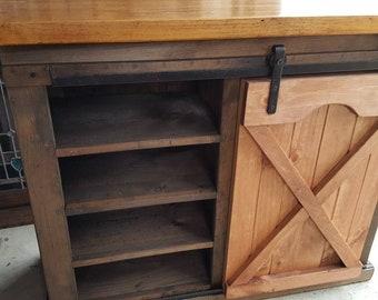 Rustic Farmhouse Sliding Barn Door Storage Cabinet / Country Farmhouse  Furniture / Rustic Furniture / Home