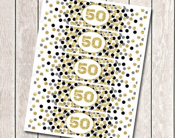 Water Bottle Labels Printable 50th Birthday Party Decorations Gold Confetti Water Bottle Wraps Gold And Black Confetti Party Decor
