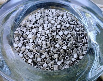11/0 Triangle, Seed Beads, Toho, Matte Metallic Silver, F451D, 7 grams per package, Priced per Package