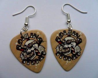 Handmade ROLLING STONES Guitar Pick // Plectrum Earrings