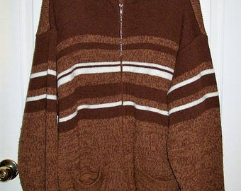 Vintage Men's Brown Zip Front Cardigan Sweater by John Blair Large Only 10 USD