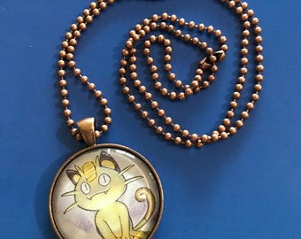 Meowth Pokemon Pendant Necklace