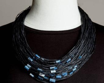 contemporary fiber necklace, black and blue fiber necklace, fiber Jewellry
