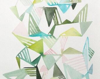 "10"" x 14"" Triangle Hash  - Original Painting"