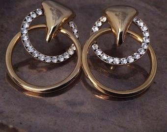 Vintage Hoop Earrings Gold Hoop And Rhinestone Earrings Rhinestone Hoop Earrings Large Gold Rhinestone Earrings Rhinestone Post Earrings
