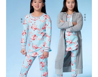 McCall's Pattern M7499 Girls'/Girls' Plus Robe with Hood, Henley Top and Banded Pants
