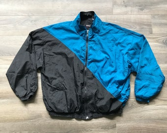 Vintage 1980s MacGregor Windbreaker Lightweight Black Blue, Men's 2X