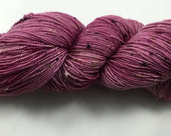 hand dyed sock yarn, donegal tweed sock, superwash merino and NEP, colorway BLUSH