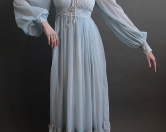 Gunne Sax Blue Maxi Prairie Dress Bell Sleeves Lace Vintage 1970s