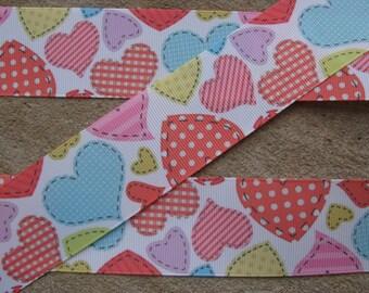 """3 yards Valentine Ribbon 1.5 inches ribbon Color Hearts ribbon Grosgrain ribbon Hair Bow Printed Ribbon Valentines Day Ribbon - 1 1/2"""""""