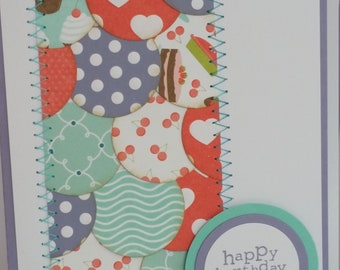 Stitched Circles Handmade Stitched circles Happy Birthday card, made in Australia