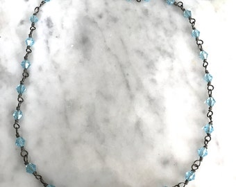 Vintage Blue Bead Short Necklace