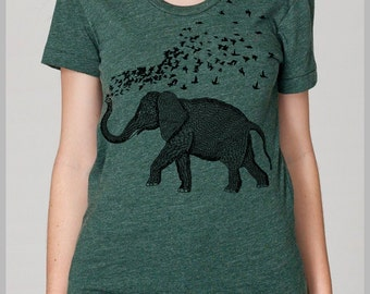 Whimsical Elephant Parade Womens T Shirt Hand Drawn Hand Printed Tee S, M, L, XL Petite 8 COLORS gift for her Elephant Birds