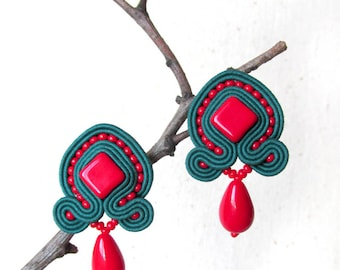 Green red earrings Soutache Small earrings Post earrings Boho stud earrings Bright earrings Red drop earrings Mother daughter gift for wife