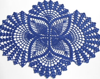 Crochet doily ,dark blue, oval doilies , lace ,home decor