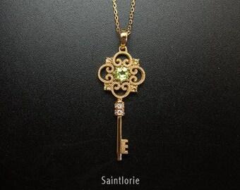 3.5mm Peridot Key Necklace