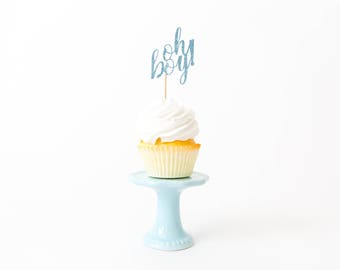 Oh Boy Cupcake Toppers - Baby Shower Decor, Boy Baby Shower, It's A Boy Decor, Gender Reveal Party Decor