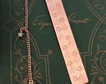 Copper Bookmark, Stamped Bookmark, Gift Bookmark, Ready to give Bookmark, Readers Gift, Book Accessories, Decorative Bookmark