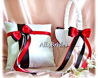 Wedding Red and Black Flower Girl Basket and Ring Bearer Pillow, ring cushion and basket set.