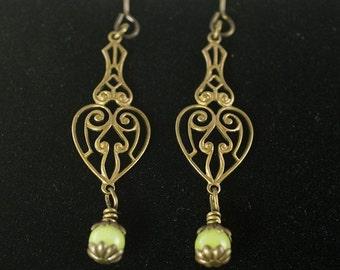 Beaded Dangling Earrings Jade & Antique Brass