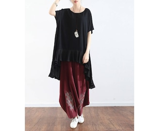 Womens Loose Fitting Cotton Linen Patchwork Chiffon Flouncing Short Sleeve Blouses, Casual Blouses, Casual Tops, Summer Blouses, Bust>120CM