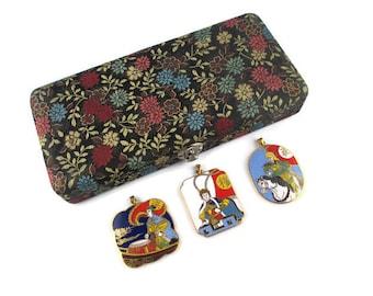3 Chinese Opera Cloisonne  Pendants/Peking Jewelry Company /Beijing Arts Set/ Korvettes Oriental Enamel Stock/Silk Road Black Brocade Box