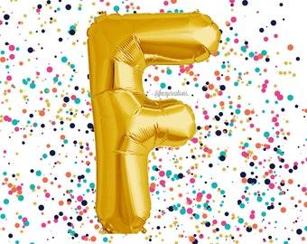 """Letter Balloon Gold 40"""" / Wedding Balloons / """"F"""" Mylar Balloon / Metallic Gold Letter Balloons / Gold Number Balloon / Gold Balloon"""