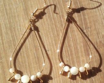 Drop earrings gold Pearl